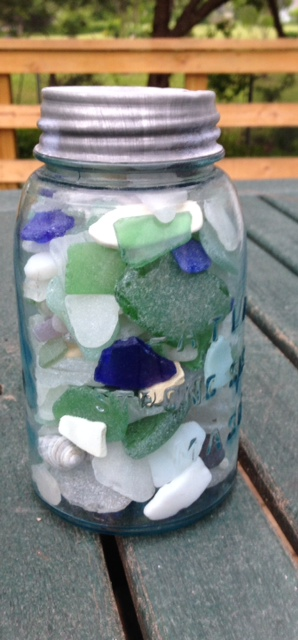 Image of a jar full of sea glass