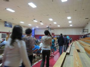 Students filing into gym for the assembly